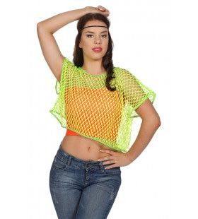 Disco Visnetshirt Neongroen Vrouw