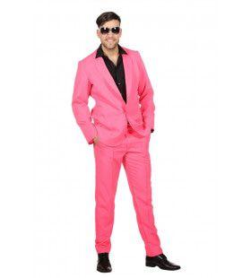 Vrolijk Op En Top Roze Stap Man Kostuum