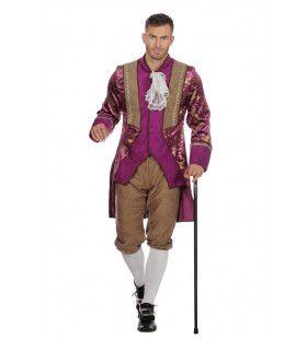 Paarse Prins Adel Markies Victor De La Louvre Man Kostuum