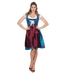 Heidi Edelweiss Oktoberfest Dirndl Blauw Vrouw Kostuum