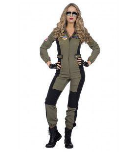 Maverick Top Piloot F35 Straaljager Vrouw Kostuum
