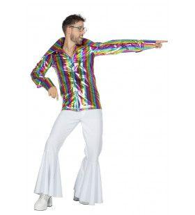 Festival Overhemd Stralend Glinsterende Regenboog Man