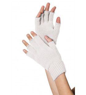 Wit Gebreide Vingerloze Handschoenen