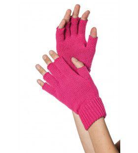 Roze Gebreide Vingerloze Handschoenen