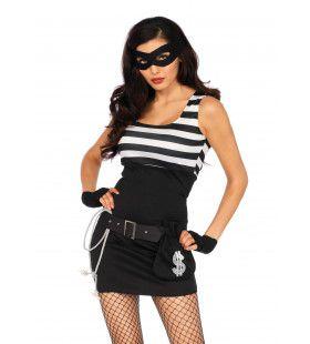 Sexy Bankrover Boef Vrouw Kostuum